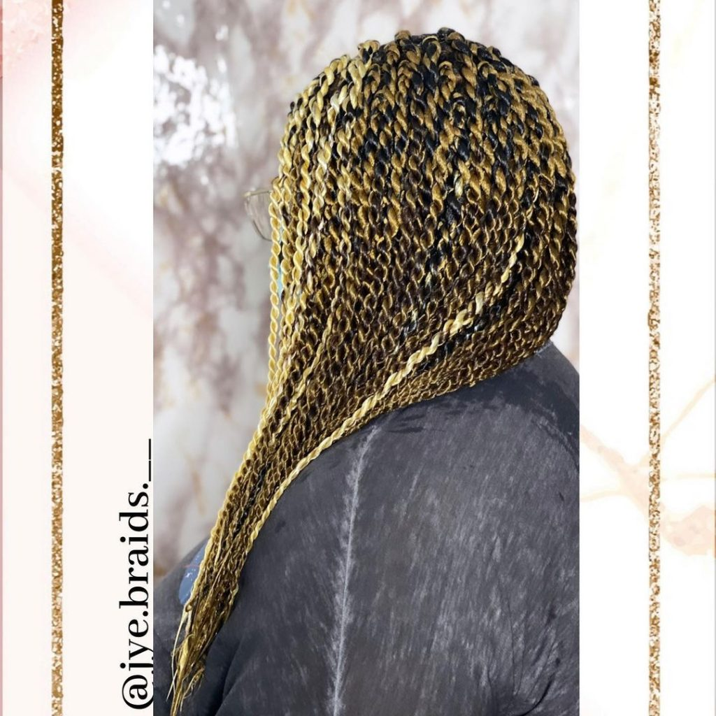 Add a bit of blonde to your Senegalese twists for a pop of color.